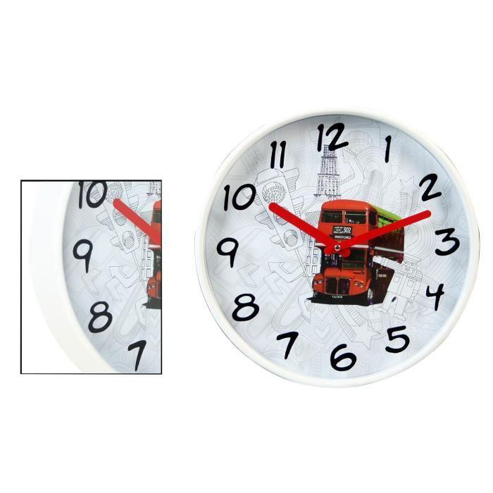 Horloge murale melamina bus 30x4 2 cm achat vente - Horloge murale led bleue ...