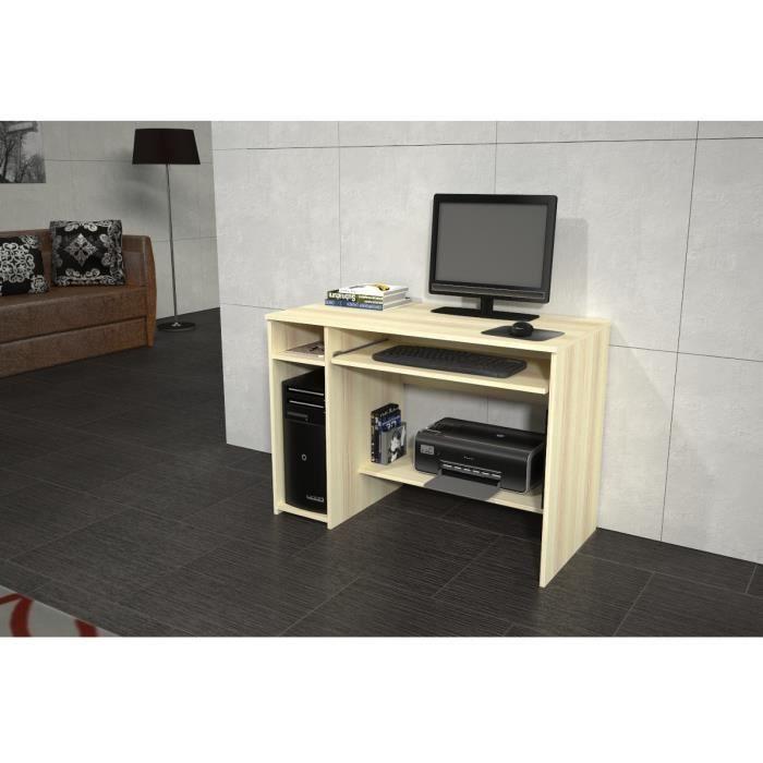 emio meuble pc 102x72x50 cm rable clair achat vente