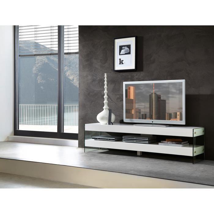 Meuble tv design coloris blanc rachelle achat vente for Meuble tv bel air 2