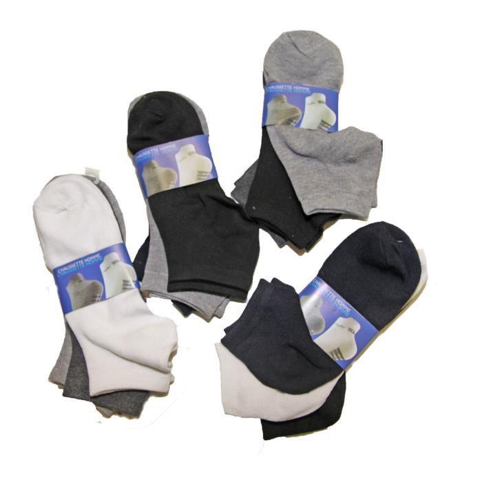 lot de 12 paires chaussettes socquettes uni homme achat. Black Bedroom Furniture Sets. Home Design Ideas