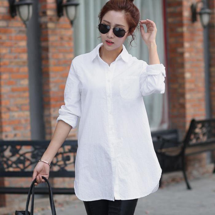 manches longues en coton chemise t v tements pour les femmes blanc achat vente chemisier. Black Bedroom Furniture Sets. Home Design Ideas