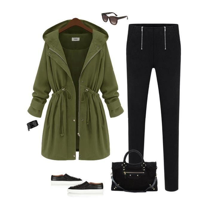 manteau femme capuche hiver trench coat longue automne zipper d contract avec lien de serrage. Black Bedroom Furniture Sets. Home Design Ideas