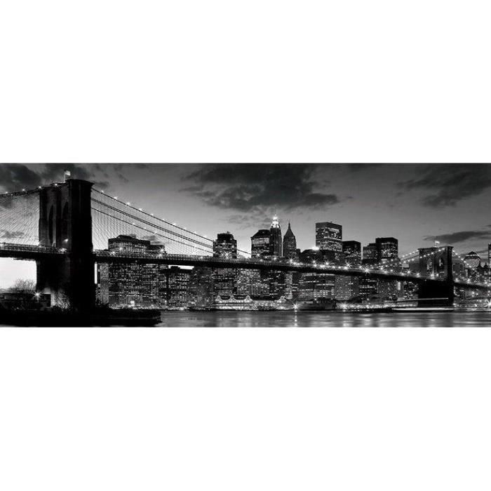 poster noir et blanc du pont de brooklyn new york 30 5 x 91 5 cm achat vente affiche. Black Bedroom Furniture Sets. Home Design Ideas
