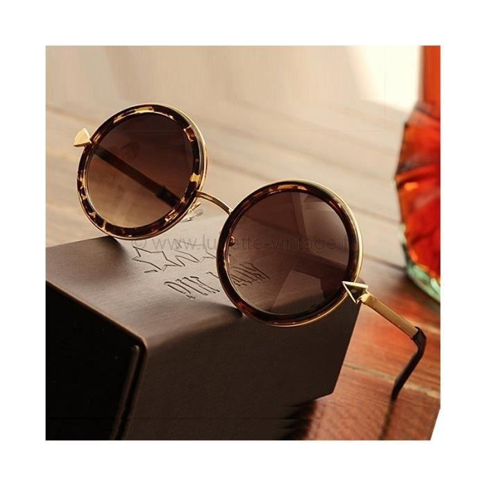 lunettes vintage ronde leopard dor achat vente lunettes de soleil mixte cdiscount. Black Bedroom Furniture Sets. Home Design Ideas