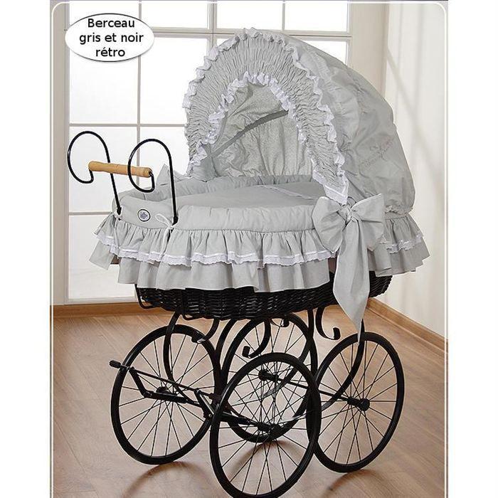 Berceau b b r tro osier complet noir et gris achat vente berceau et supp - Cdiscount berceau bebe ...