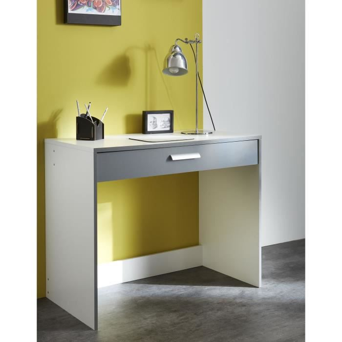 George bureau 1 tiroir blanc gris achat vente bureau for Bureau 1 tiroir jimi