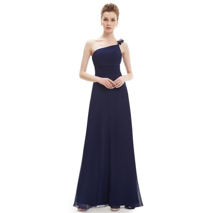 robe de soir e longue bleue marine simple en mousseline taille empire pliss e avec une epaule. Black Bedroom Furniture Sets. Home Design Ideas