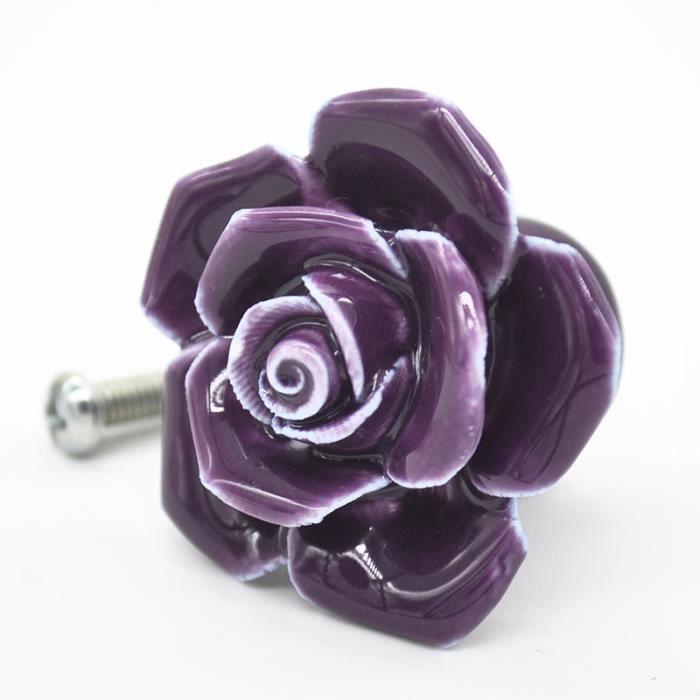 Poign e bouton meuble c ramique seul trou rose violet - Poignee de porte ceramique ...