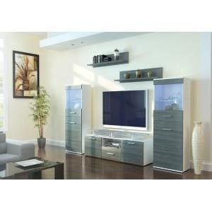 Ensemble de meuble tv blanc effet bois oui non oui for Ensemble meuble tv design