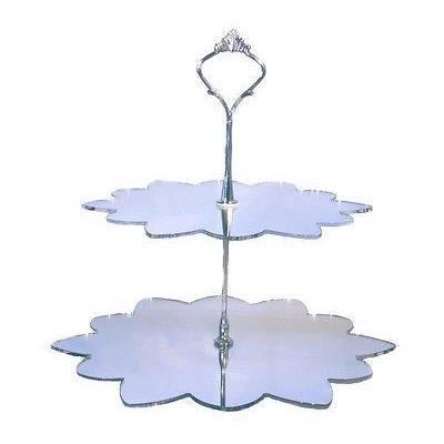 2 niveaux en forme de fleur stand g teau en argent miroir for Miroir acrylique incassable