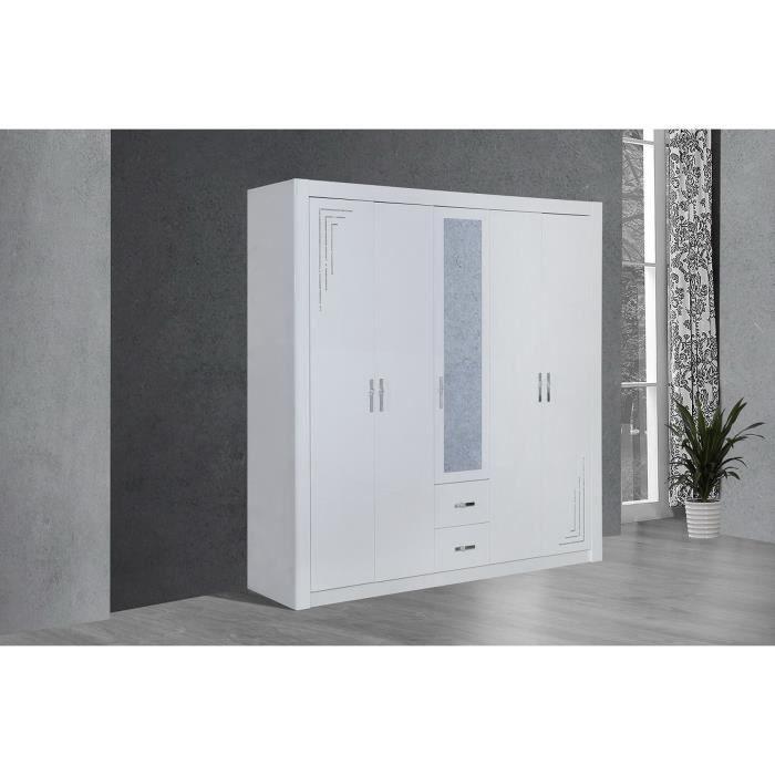 Armoire de chambre 5 portes laqu blanc et strass achat for Armoire de chambre design