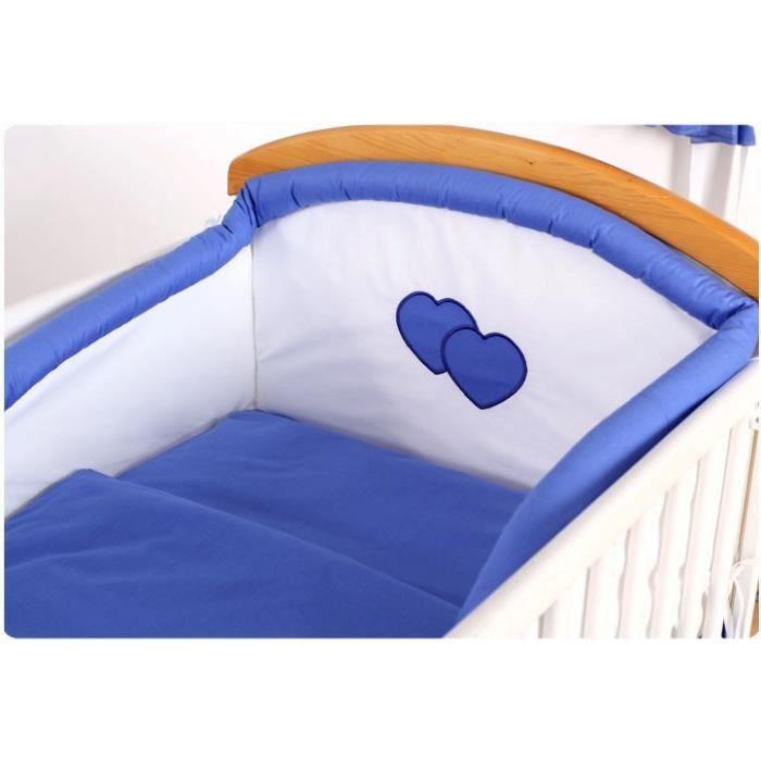 Tour de lit sa housse de couette et taie 3 pcs bleu mer for Housse tour de lit