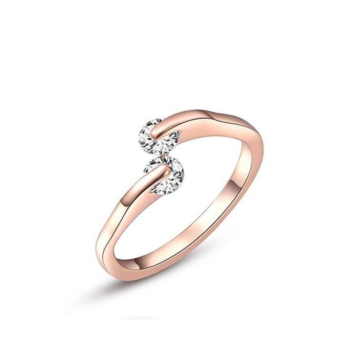 Zircon Bague Or Rose Mariage Ring Femme or rose - Achat / Vente ...