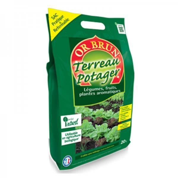 Or brun terreau potager bio pratique 20l achat vente for Terreau