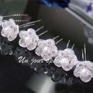 barrette chouchou pic chignon epingle cheveux mariage perle cristal - Epingle Cheveux Mariage