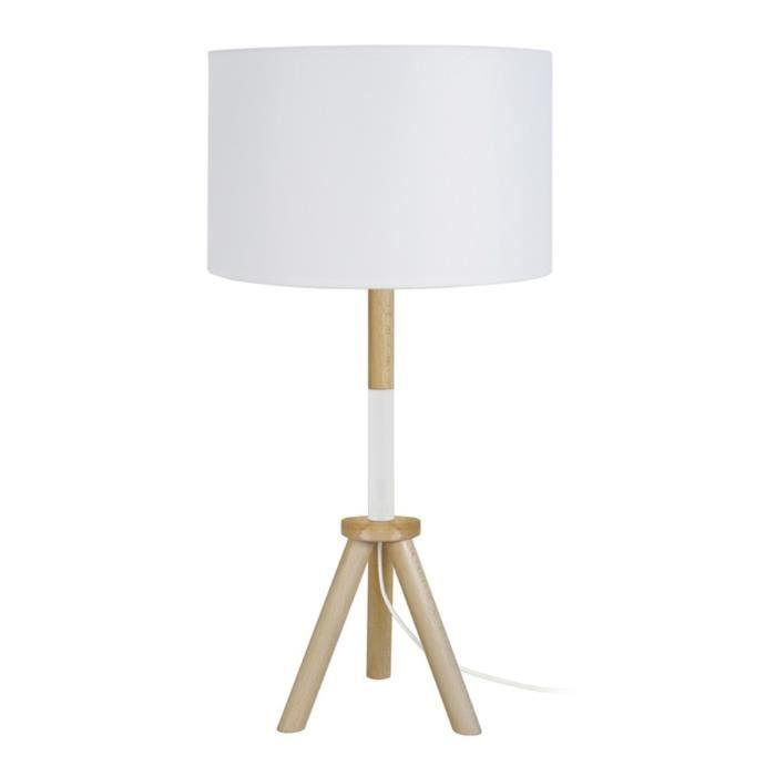 trident lampe trepied en bois fut bois et m tal hauteur. Black Bedroom Furniture Sets. Home Design Ideas