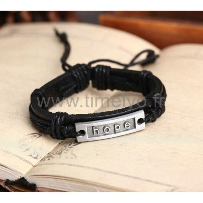 bracelet hope pour homme femme garcon ado cuir noir tendance fashion swag achat vente. Black Bedroom Furniture Sets. Home Design Ideas