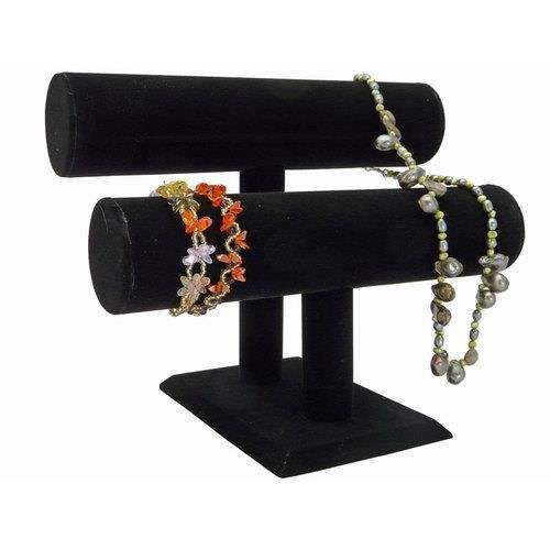 pr sentoir bijoux 2 niveaux noir l gant achat vente. Black Bedroom Furniture Sets. Home Design Ideas