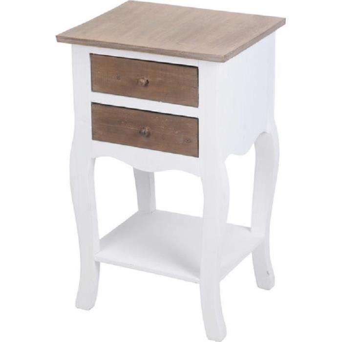 Table de nuit de chevet en bois avec 2 tiroirs 40 x 33 5 x for Table de nuit tiroir