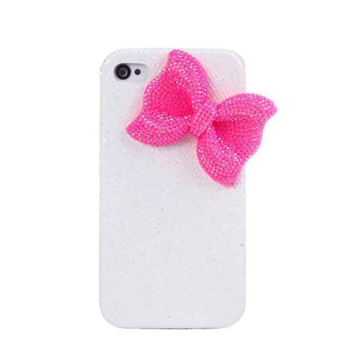 coque blanche noeud rose pour iphone 4 4s achat coque. Black Bedroom Furniture Sets. Home Design Ideas