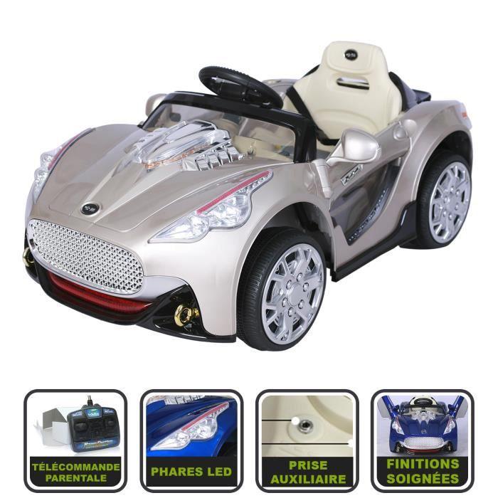 voiture de sport lectrique pour enfant 12v beige peinture r elle avec t l commande. Black Bedroom Furniture Sets. Home Design Ideas