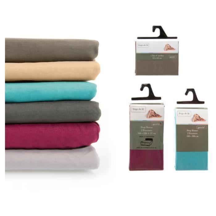 drap housse 57 fils pour lit boxspring 200x220 cm anthracite achat vente drap housse. Black Bedroom Furniture Sets. Home Design Ideas
