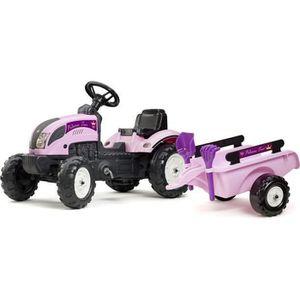 TRACTEUR - CHANTIER FALK Tracteur à pédales Rose Princesse avec remorq