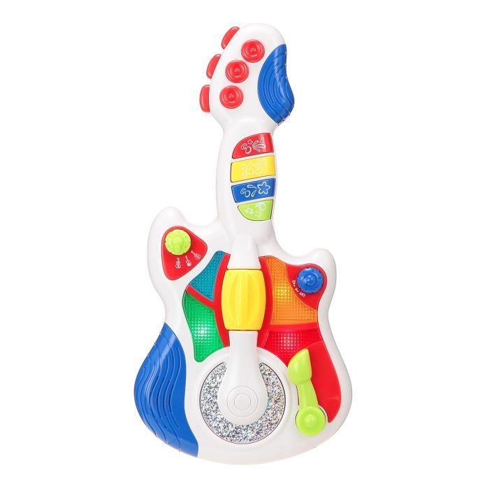 INSTRUMENT DE MUSIQUE Guitare rock enfant blanche avec disque
