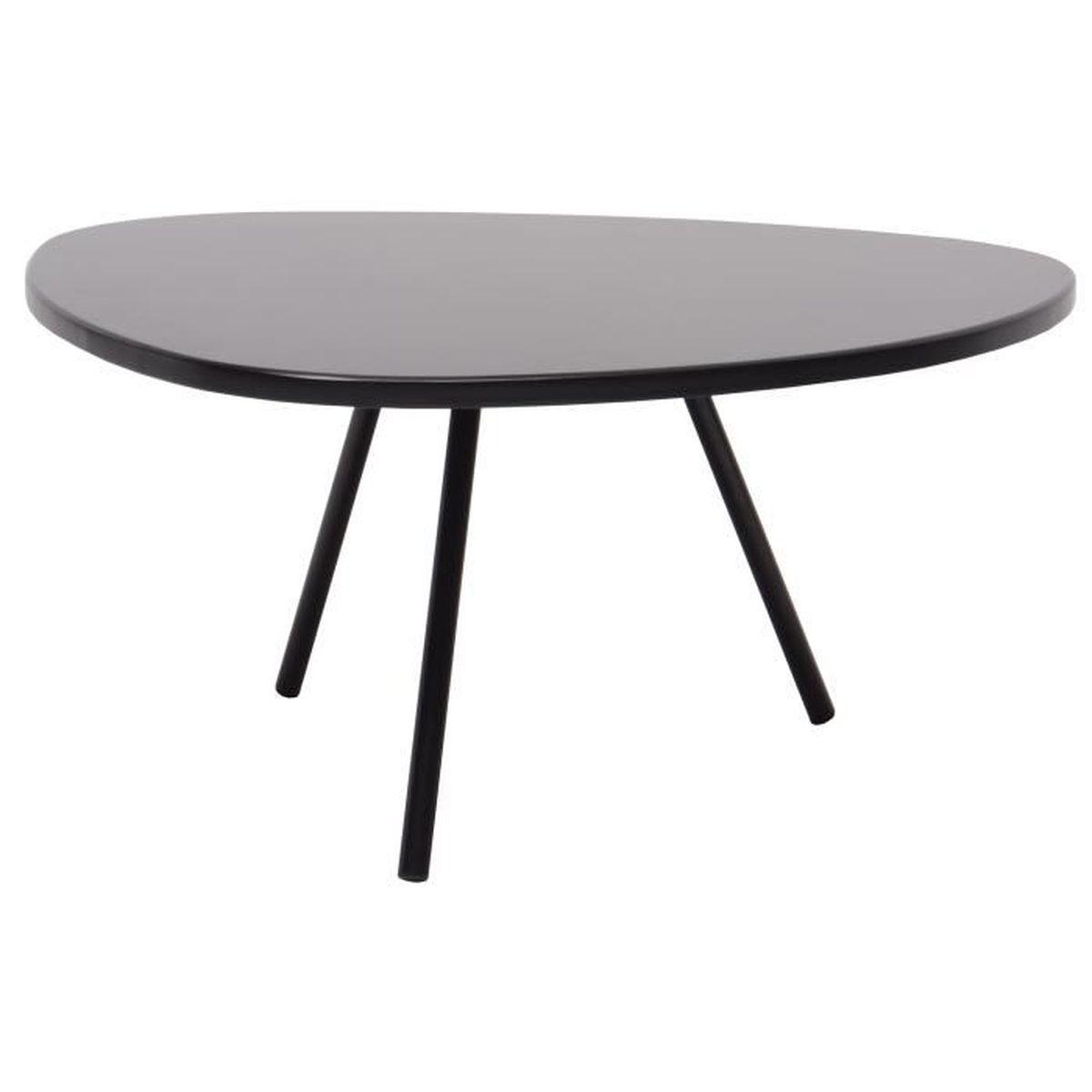 Ovo Table Basse Ronde Style Contemporain Laqu E Noir