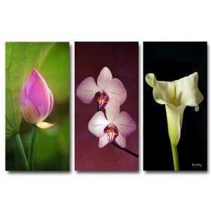 tableau triptyque zen 3 fleurs 60 x 90 cm achat vente tableau toile toile 100 coton. Black Bedroom Furniture Sets. Home Design Ideas