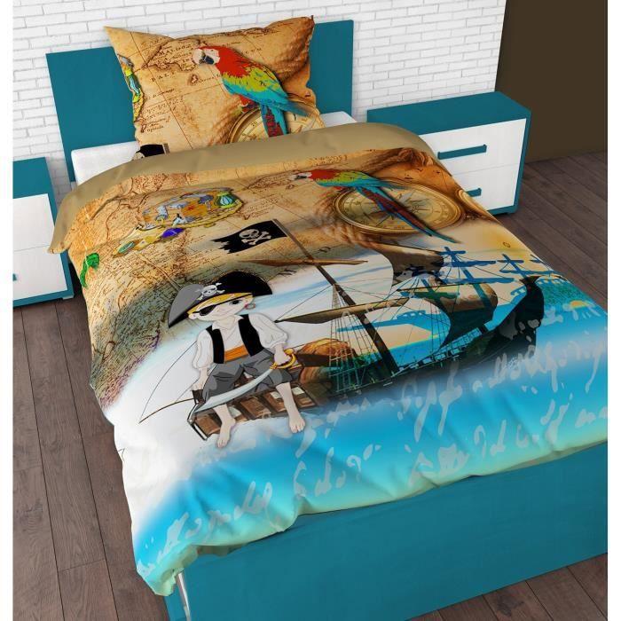 Parure de lit housse de couette pirate achat vente for Housse de couette petit lit