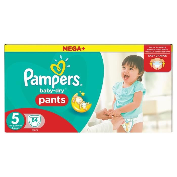pampers baby dry pants 84 couches taille 5 12 18kg. Black Bedroom Furniture Sets. Home Design Ideas