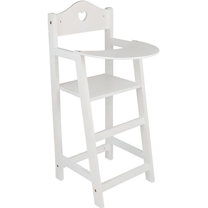 Chaise haute blanche en bois achat vente nurserie for Chaise haute en bois
