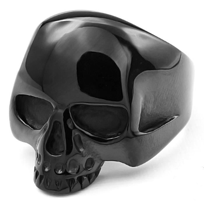 bague homme tete de mort en acie noir achat vente bague anneau bague homme tete de mort. Black Bedroom Furniture Sets. Home Design Ideas