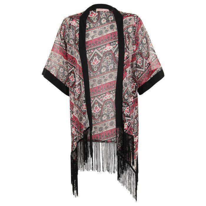 femme veste kimono longue cardic noir achat vente veste cdiscount. Black Bedroom Furniture Sets. Home Design Ideas