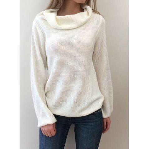 pull en laine manche longue col rond femme 2015 blanc achat vente pull soldes d hiver. Black Bedroom Furniture Sets. Home Design Ideas