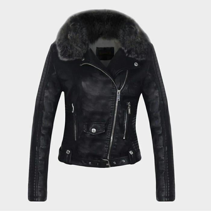 Manteau col fourrure vestes en cuir d 39 hiver chaud pour les - Tapis fausse fourrure pas cher ...