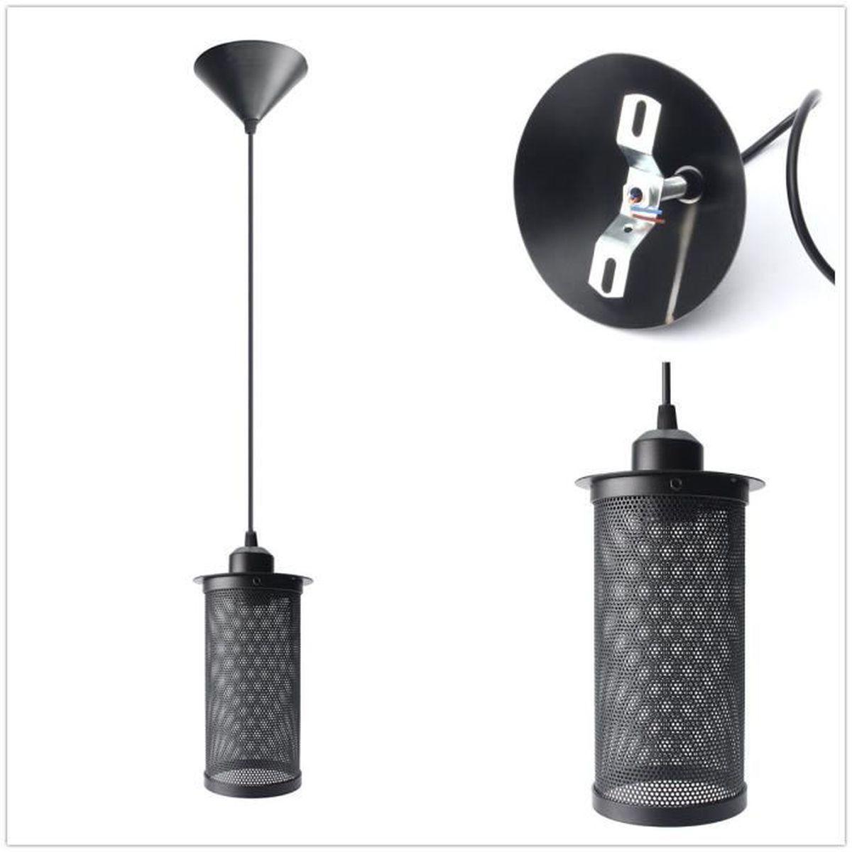 Lampe Suspension Abat Jour Avec Douille E27 Lustre Plafonnier Retro Vintage Style Industriel