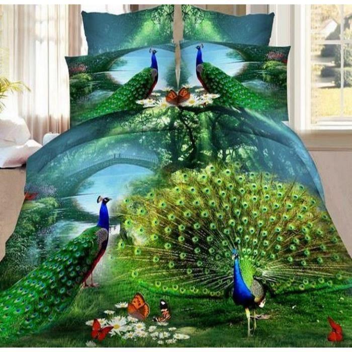 Housse De Couette Bed Linen 3d Paon 2 Taies 020 Achat