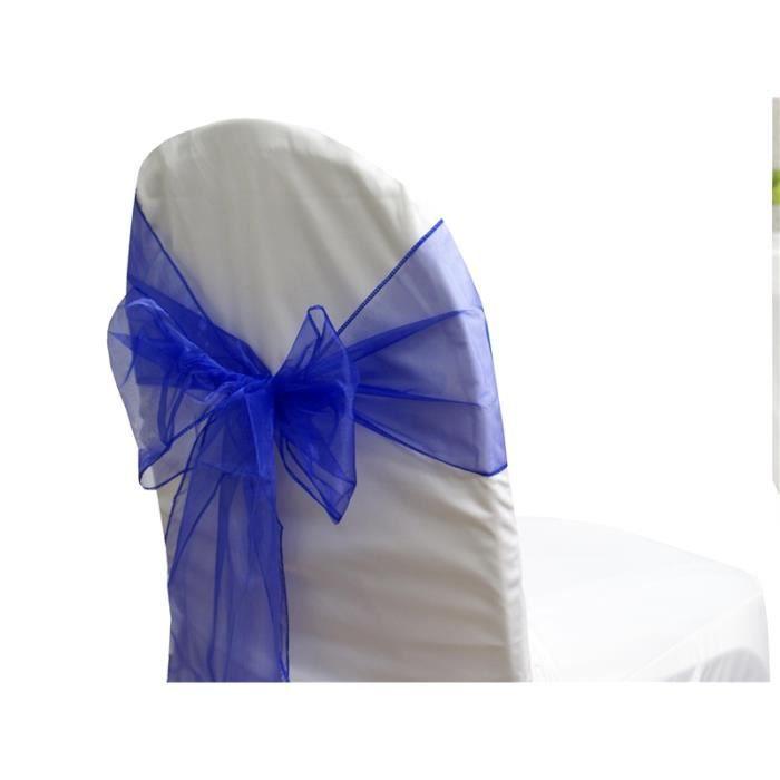 noeud organza bleu royal pour housse de chaise x10 achat vente tulle noeud ruban. Black Bedroom Furniture Sets. Home Design Ideas