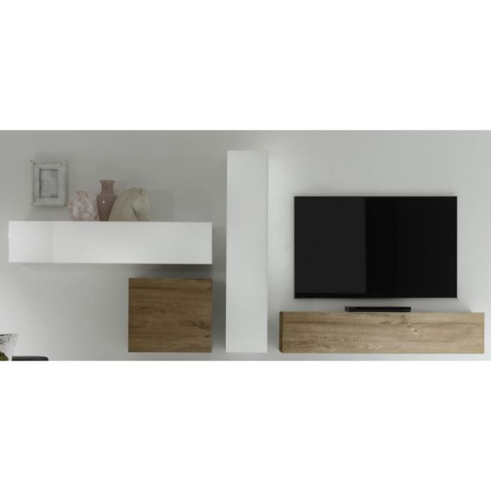 Ensemble tv tisso4 blanc laqu et chene clair bois clair for Meuble tv laque blanc et bois