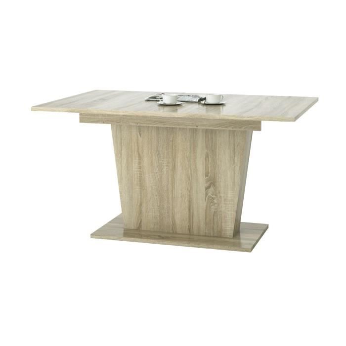 Table rectangulaire 1 allonge blanc sonoma l140 180 x for Taille table 8 personnes