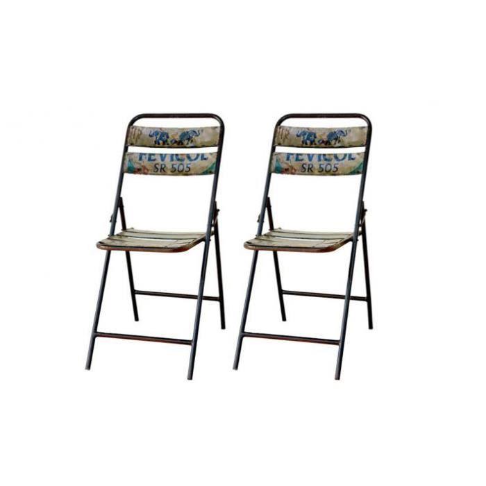 Lot de 2 chaises pliantes en m tal folding achat vente for Lot de chaises pliantes