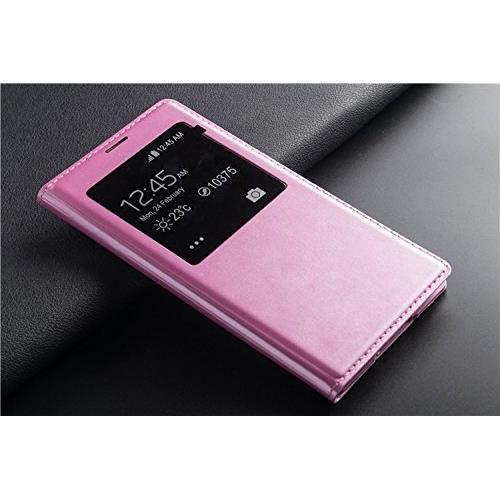 telephonie accessoires portable gsm etui flip s view rose pour samsung galaxy edge f  auc