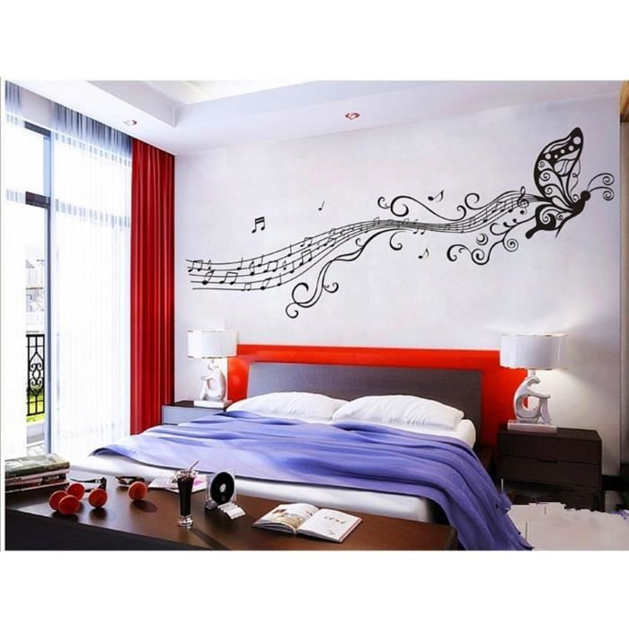 Sticker mural papillon notes de musique achat vente for Decoration murale note de musique