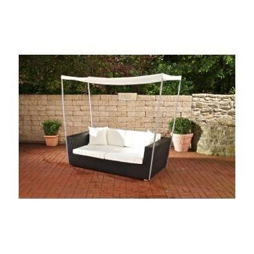 Canap de jardin avec auvent gustavo noir achat for Auvent de jardin