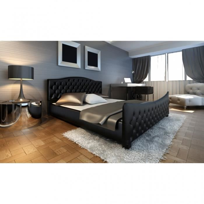 lit capitonn noir 140x200 cm avec sommier achat vente lit complet lit capitonn noir. Black Bedroom Furniture Sets. Home Design Ideas
