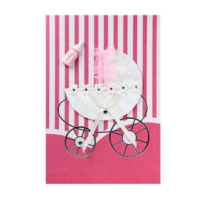 carte de voeux carte naissance fait main landeau de bebe fille et biberon achat vente carte. Black Bedroom Furniture Sets. Home Design Ideas