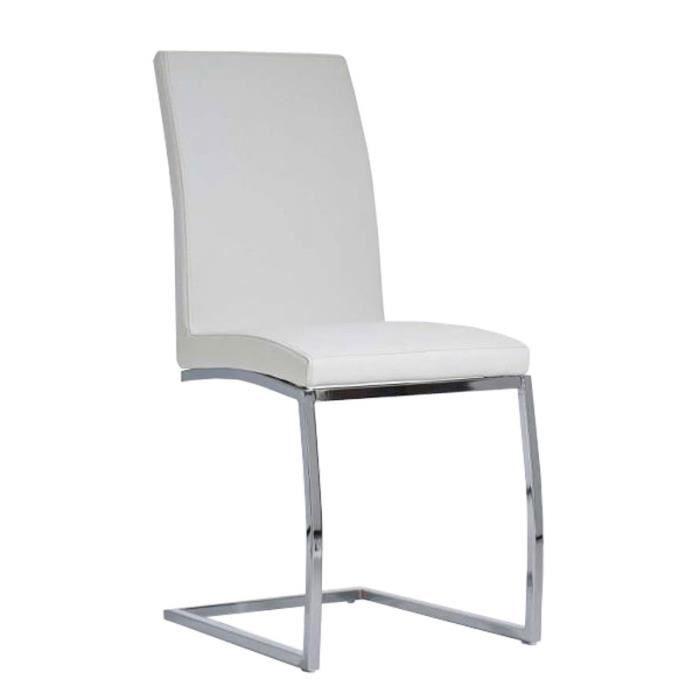 Chaise de salle manger cantilever blanc en si achat vente chaise c - Chaise salle a manger blanc ...