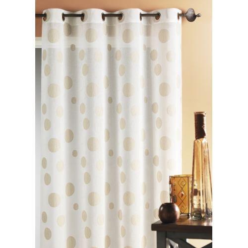 Rideau fantaisie avec gros ronds ivoire 150x240 cm achat for Rideau fantaisie
